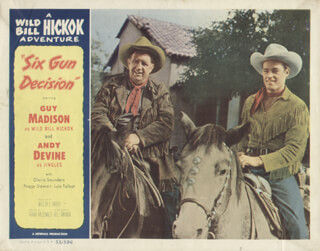SIX GUN DECISION MOVIE CAST - LOBBY CARD UNSIGNED (USA) 1953
