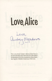 AUDREY MEADOWS - BOOK SIGNED CIRCA 1994