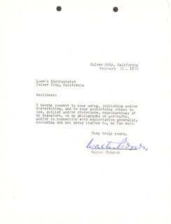 WALTER PIDGEON - DOCUMENT SIGNED 02/11/1952