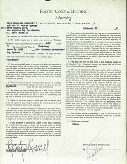 ROSALIND RUSSELL - CONTRACT SIGNED 02/20/1951