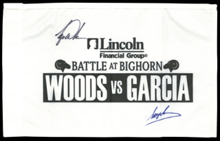 TIGER WOODS - FLAG SIGNED CO-SIGNED BY: SERGIO GARCIA