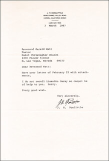 BRIGADIER GENERAL JAMES H. JIMMY DOOLITTLE - TYPED LETTER SIGNED 03/03/1987
