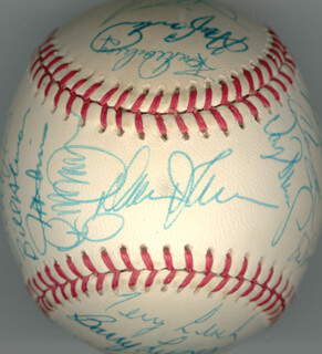 THE NEW YORK METS - AUTOGRAPHED SIGNED BASEBALL CIRCA 1987 CO-SIGNED BY: DARRYL STRAWBERRY, LENNY DYKSTRA, DWIGHT DOC GOODEN, KEITH MEX HERNANDEZ, LEE MAZ MAZZILLI, RON DARLING, JESSE OROSCO, WALLY BACKMAN, MOOKIE WILSON, TERRY LEACH, MEL STOTTLEMYRE, RAFAEL SANTANA, SID EL SID FERNANDEZ, RANDY WOJO MYERS, JOHN K. MITCHELL, BILL ALMON, BARRY LYONS, KEVIN BIG MAC McREYNOLDS, TIM TUFF TEUFEL, SAM PERLOZZO, JEFF INNIS, GARY CARTER, DAVEY JOHNSON