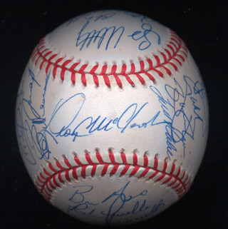 THE PITTSBURGH PIRATES - AUTOGRAPHED SIGNED BASEBALL CIRCA 2001 CO-SIGNED BY: BILL VIRDON, LLOYD McCLENDON, BRIAN GILES, KEVIN YOUNG, PAT MEARES, RICH LOISELLE, MIKE FETTERS, ROBERT MACKOWIAK, ADAM HYZDU, ARAMIS RAMIREZ, JOE BEIMEL, TODD RITCHIE, SCOTT SAUERBECK, TONY McKNIGHT, BRONSON ARROYO, JOSE MANZANILLO, HUMBERTO COTA, MIKE LINCOLN, GARY MATTHEWS, JR.