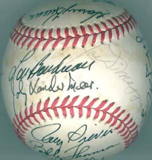 Autographs: JOE DIMAGGIO - BASEBALL SIGNED CO-SIGNED BY: HARVEY KUENN, VIRGIL TRUCKS, BILL MOOSE SKOWRON, TONY CONIGLIARO, BOB FELLER, WHITEY FORD, FRED LINDSTROM, JOHNNY MIZE, LOU BOUDREAU, DON LARSEN, BOBBY THOMSON, JOE CRONIN, ROY SIEVERS, JOHNNY DOUBLE NO-HIT VANDER MEER