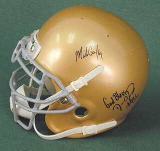 DAN O'LEARY - MINIATURE HELMET SIGNED CO-SIGNED BY: MIKE GANDY