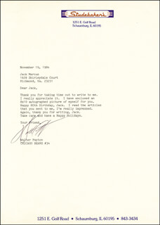 WALTER SWEETNESS PAYTON - TYPED LETTER SIGNED 11/19/1984
