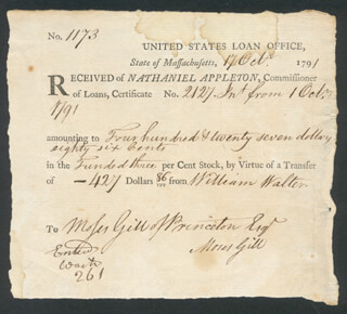 Autographs: NATHANIEL APPLETON - RECEIPT SIGNED 10/17/1791 CO-SIGNED BY: MOSES GILL