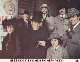 SHERLOCK HOLMES IN NEW YORK MOVIE CAST - LOBBY CARD UNSIGNED (USA) 1976