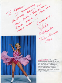 JILL SHIPSTAD THOMAS - AUTOGRAPH NOTE SIGNED 1970