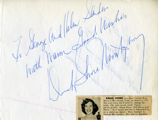 DINAH SHORE - AUTOGRAPH NOTE SIGNED CO-SIGNED BY: JOHN DORAN