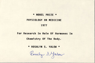 Autographs: ROSALYN S. YALOW - TYPED CARD SIGNED