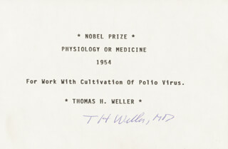 Autographs: THOMAS H. WELLER - TYPED CARD SIGNED