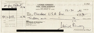 LEONID KINSKEY - AUTOGRAPHED SIGNED CHECK 12/30/1991