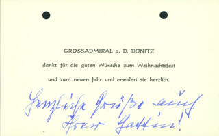Autographs: GRAND ADMIRAL KARL DONITZ - AUTOGRAPH NOTE UNSIGNED