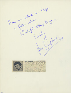 JEAN SIMMONS - AUTOGRAPH NOTE SIGNED CIRCA 1958 CO-SIGNED BY: SAUL CHAPLIN