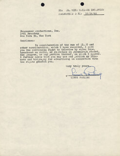 Autographs: LINUS PAULING - DOCUMENT SIGNED 10/24/1960