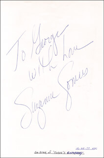 SUZANNE SOMERS - AUTOGRAPH NOTE SIGNED