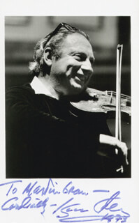 ISAAC STERN - INSCRIBED PICTURE POSTCARD SIGNED 1973