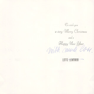 LOTTE LEHMANN - CHRISTMAS / HOLIDAY CARD UNSIGNED CIRCA 1962
