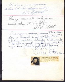GALE STORM - AUTOGRAPH NOTE SIGNED CO-SIGNED BY: LOUIS HAYWARD, ALEX NICOL, BOB BAUER