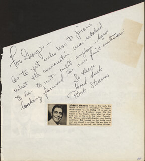 ROBERT STRAUSS - AUTOGRAPH NOTE SIGNED CO-SIGNED BY: JERI SOUTHERN