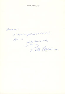 PETER STRAUSS - AUTOGRAPH NOTE SIGNED