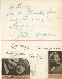 ESTELLE TAYLOR - AUTOGRAPH NOTE SIGNED CO-SIGNED BY: PATTI MOORE, UKIE SHERIN