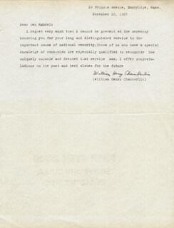 WILLIAM HENRY CHAMBERLIN - TYPED LETTER SIGNED 11/10/1967