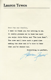 LAUREN TEWES - TYPED LETTER SIGNED