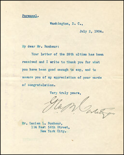 Autographs: GEORGE B. CORTELYOU - COLLECTION WITH WILLIAM C. REDFIELD, WILLIAM B. WILSON