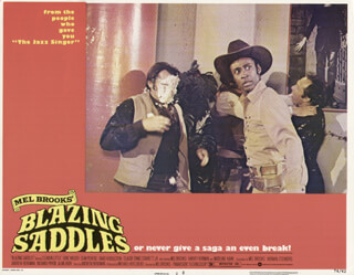 BLAZING SADDLES MOVIE CAST - LOBBY CARD UNSIGNED (USA) 1974