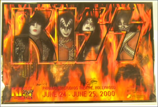 Autographs: KISS - POSTER SIGNED CIRCA 2000 CO-SIGNED BY: KISS (GENE SIMMONS), KISS (PAUL STANLEY)