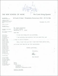 Autographs: MAX ARONOFF - TYPED LETTER SIGNED 12/20/1976
