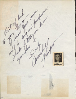 MARSHALL THOMPSON - AUTOGRAPH NOTE SIGNED CO-SIGNED BY: RALPH FLANAGAN, TONI GERRY