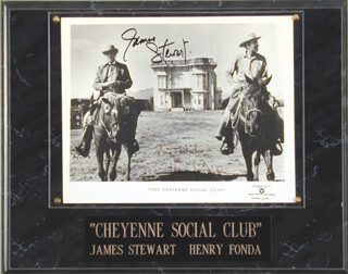 CHEYENNE SOCIAL CLUB MOVIE CAST - AUTOGRAPHED SIGNED PHOTOGRAPH CO-SIGNED BY: JAMES JIMMY STEWART, HENRY FONDA
