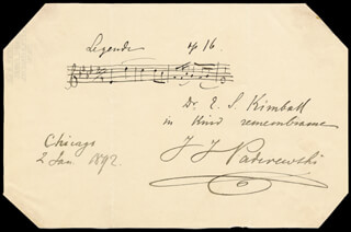 IGNACY JAN PADEREWSKI - INSCRIBED AUTOGRAPH MUSICAL QUOTATION SIGNED 01/02/1892