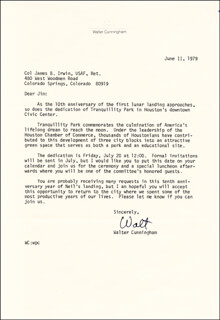 Autographs: COLONEL WALTER CUNNINGHAM - TYPED LETTER SIGNED 06/11/1979