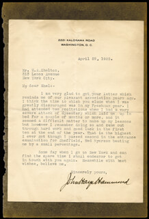JOHN HAYS HAMMOND SR. - TYPED LETTER SIGNED 04/22/1925