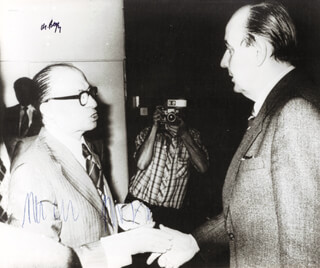Autographs: PRIME MINISTER MENACHEM BEGIN (ISRAEL) - PHOTOGRAPH SIGNED CIRCA 1978 CO-SIGNED BY: HANS-DIETRICH GENSCHER