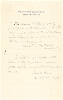 BRIGADIER GENERAL NEAL DOW - AUTOGRAPH QUOTATION SIGNED 03/20/1895