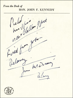 PRESIDENT JOHN F. KENNEDY - AUTOGRAPH NOTE UNSIGNED