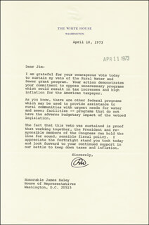 PRESIDENT RICHARD M. NIXON - TYPED LETTER SIGNED 04/10/1973