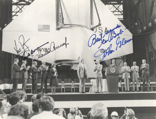 Autographs: NEIL ARMSTRONG - INSCRIBED PHOTOGRAPH SIGNED CO-SIGNED BY: COLONEL FRANK BORMAN, JOHN GLENN, CAPTAIN CHARLES PETE CONRAD JR.