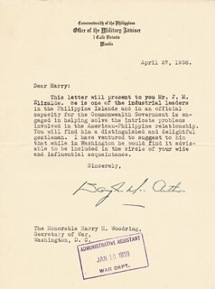 GENERAL DOUGLAS MACARTHUR - TYPED LETTER SIGNED 04/27/1938