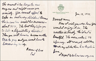 J. PAUL GETTY - AUTOGRAPH LETTER SIGNED 01/12/1933