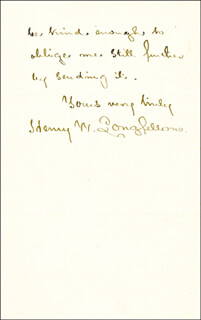 HENRY WADSWORTH LONGFELLOW - AUTOGRAPH LETTER SIGNED 02/14/1878