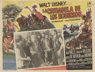SWISS FAMILY ROBINSON MOVIE CAST - LOBBY CARD UNSIGNED (MEX) 1960