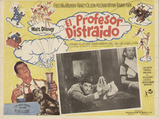 Autographs: ABSENTMINDED PROFESSOR MOVIE CAST - LOBBY CARD UNSIGNED (MEX) 1961