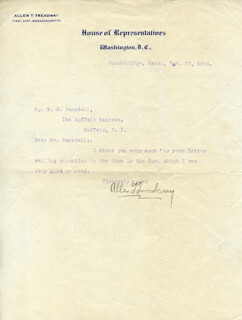 ALLEN T. TREADWAY - TYPED LETTER SIGNED 11/23/1914